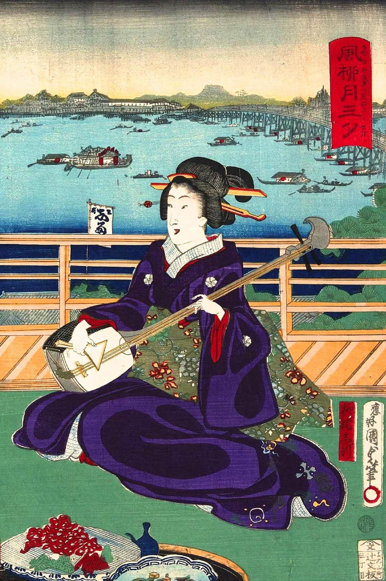 Ukiyoe painting - Yanagibashi geisha